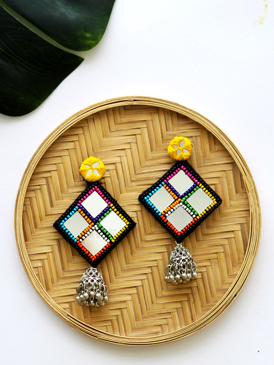 Juhi Hand-embroidered Mirror Jhumkas