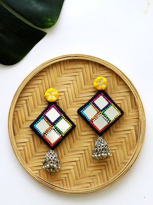 Juhi Hand-embroidered Mirror Jhumkas, a contemporary handcrafted earring from our wedding collection of Kundan, gota patti, pearl earrings and jhumkas for women online.