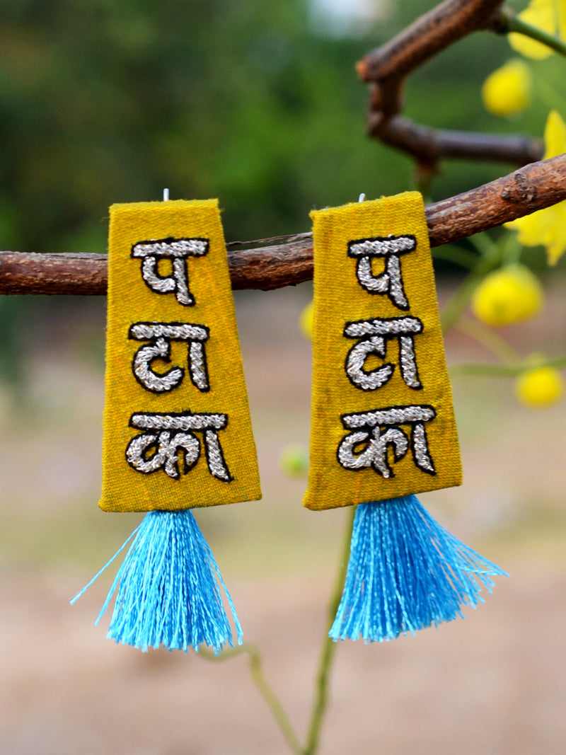Pataka Embroidered Earrings, a beautifully hand-embroidered earring from our designer collection of quirky, boho, Kundan and tassel earrings for women online.