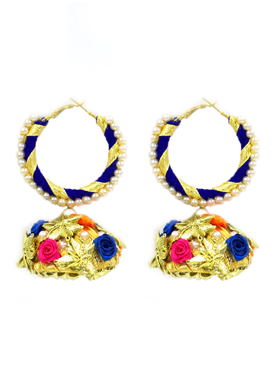 Floral Hoop Earrings (Blue) by krafted with happiness