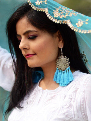 Koena Tassel Earrings, a beautiful handmade hand embroidered earring with tassel from our designer collection of earrings for women online.
