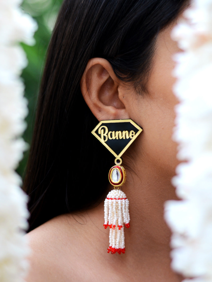 Banno Kundan Pearl Earrings, a contemporary handcrafted earring from our wedding collection of Kundan, gota patti, pearl earrings for women online.