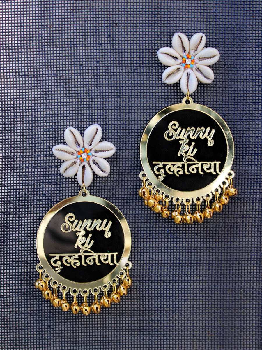 Customised Earrings (with Shell flower & Ghungroo), fully customisable and personalized statement hand embroidered earrings from our latest wedding collection of statement and handmade earrings for women.