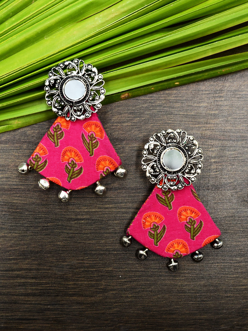 Azma Ghungroo Earrings, a beautiful silver ethnic jhumka detailed with hand embroidered mirror rings from our designer collection of earrings for women.