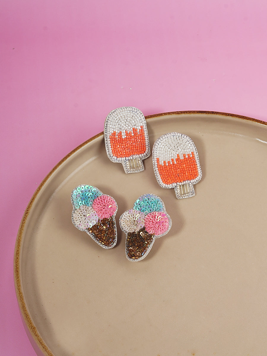Popsicle Bead + Ice-cream Sequin Earrings (Set of 2)