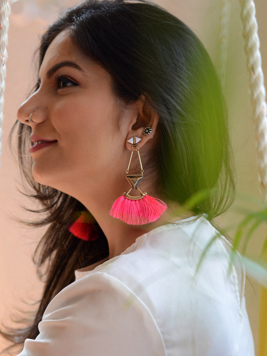 Trendy Tassel Earrings, a beautiful handmade hand embroidered earring with tassel from our designer collection of earrings for women online.