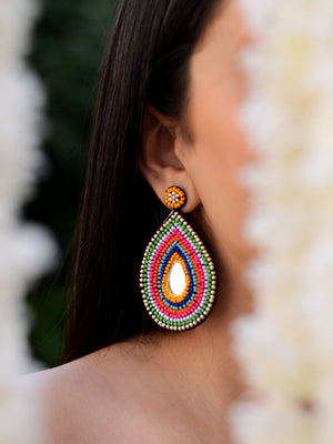 Alia Hand-embroidered Earrings, a contemporary handcrafted earring from our wedding collection of hand embroidered, Kundan, gota patti, pearl earrings for women online.