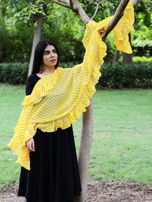 Ruffle Dupatta (Yellow), a hand embroidered, statement dupatta from our latest designer collection of dupattas and clothing for women.
