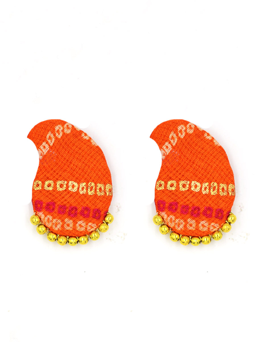 Paisley Bead Earrings, a handcrafted paisley earring with handmade bandhej and beads from our designer collection of earrings for women.