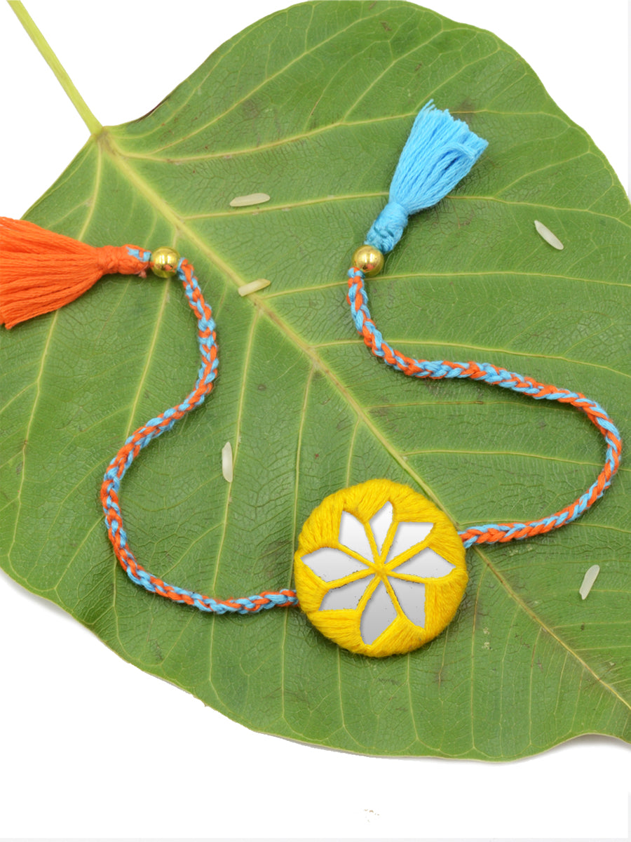 Bandhan Hand-Embroidered Rakhi (Yellow)