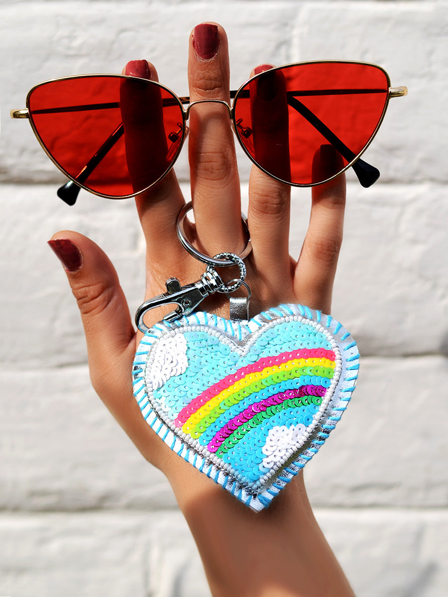 Rainbow Heart Keychain Bagcharm, a handcrafted keychain bag charm from our designer collection of hand embroidered keychain and bag charms online.