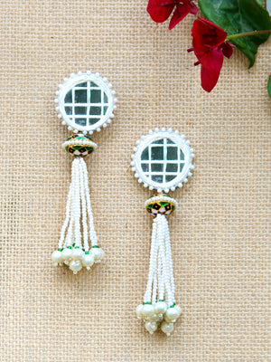 Aria Hand-Embroidered Earrings, a contemporary handcrafted earring from our wedding collection of hand embroidered, Kundan, gota patti, pearl earrings for women online.