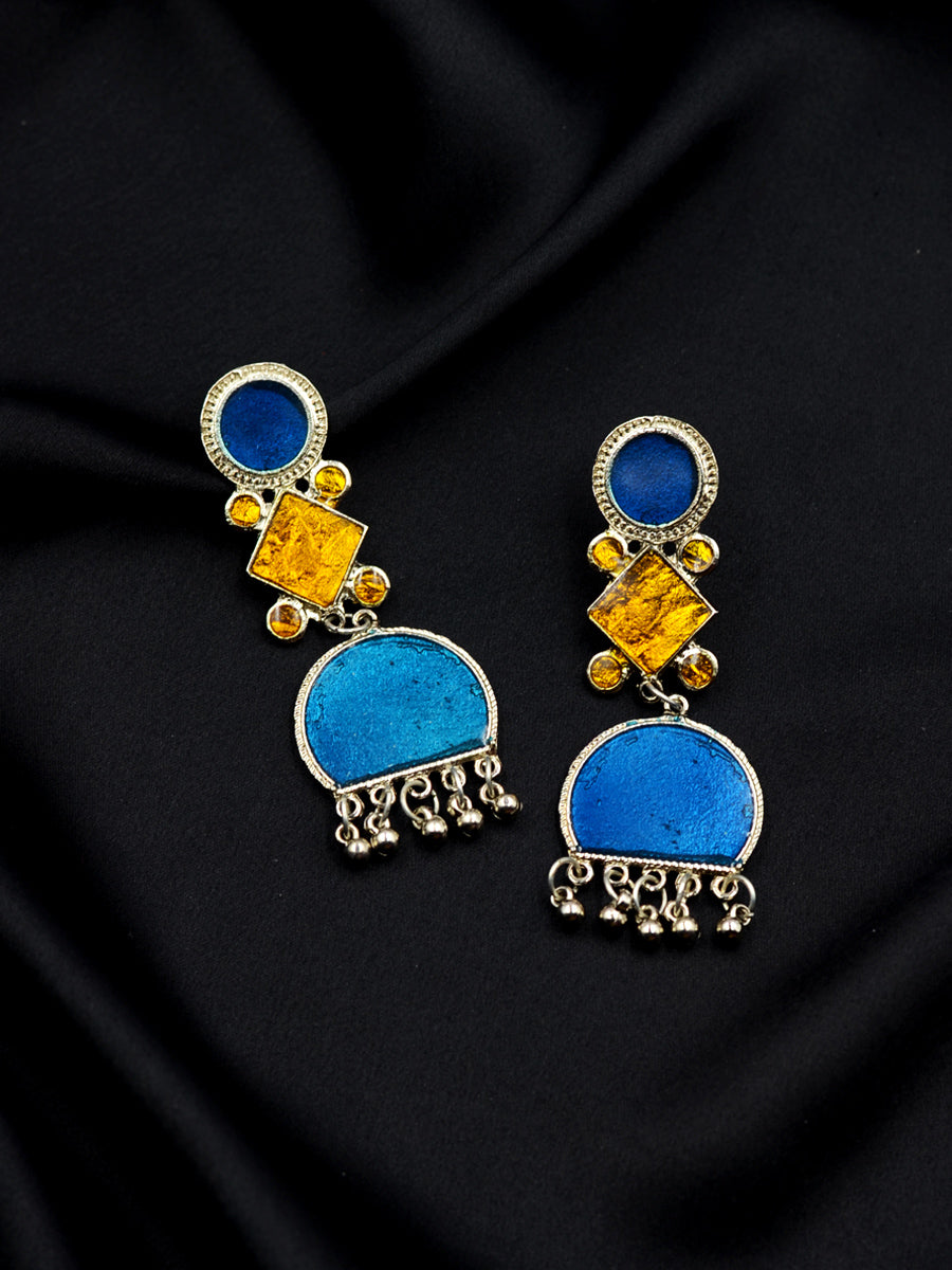 Tareefa Silver Ghungroo Earrings