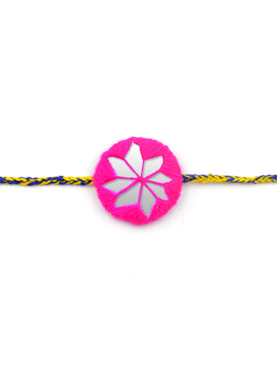 Bandhan Hand-Embroidered Rakhi (Pink)