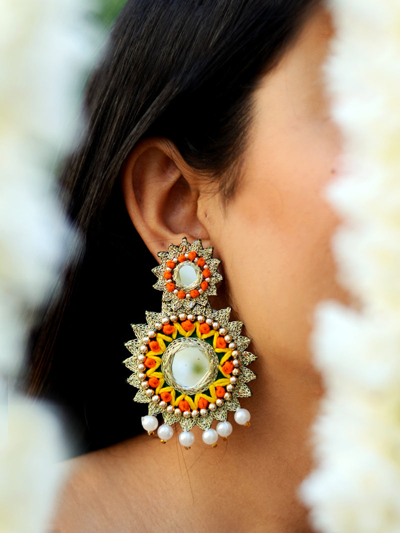 Sonali Hand-embroidered Gota Earrings, a contemporary handcrafted earring from our wedding collection of hand embroidered, Kundan, gota patti, pearl earrings for women online.