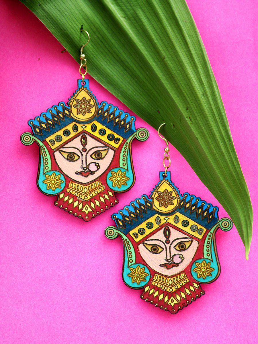 Divine Hand-painted Earrings an intricately hand painted Indo-western statement earring from our designer collection of quirky, boho earrings for women online.