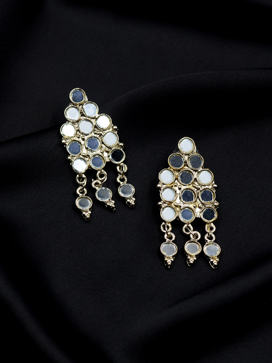 Nazm Silver Mirror Earrings