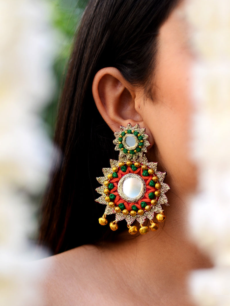 Deepika Hand-embroidered Gota Earrings, a contemporary handcrafted earring from our wedding collection of hand embroidered, Kundan, gota patti, pearl earrings for women online.
