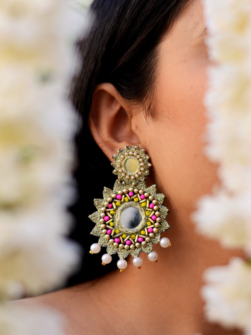 Kareena Hand-embroidered Gota Earrings, a contemporary handcrafted earring from our wedding collection of hand embroidered, Kundan, gota patti, pearl earrings for women online.