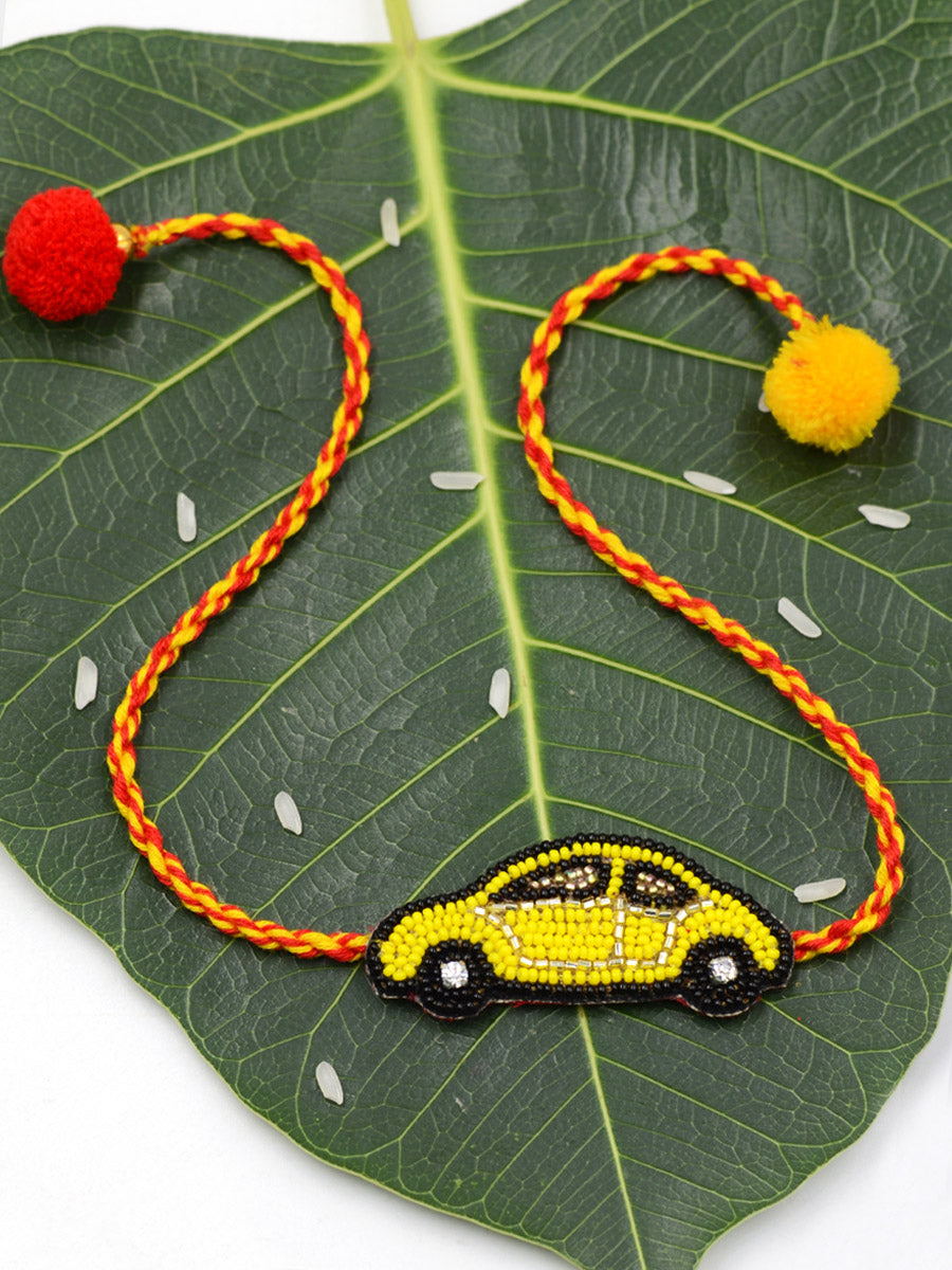 Cute Yellow Car Kids Rakhi