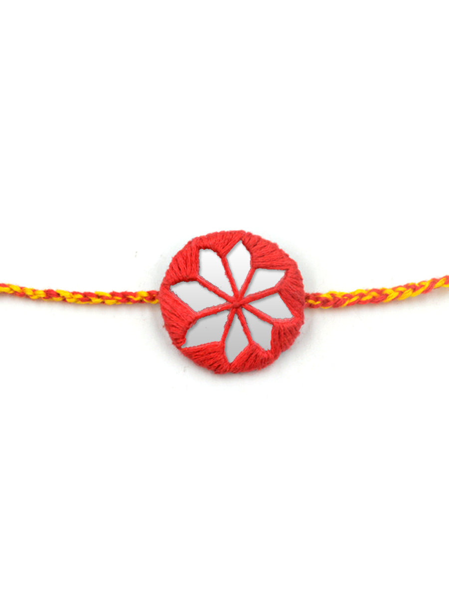 Bandhan Hand-Embroidered Rakhi (Red)
