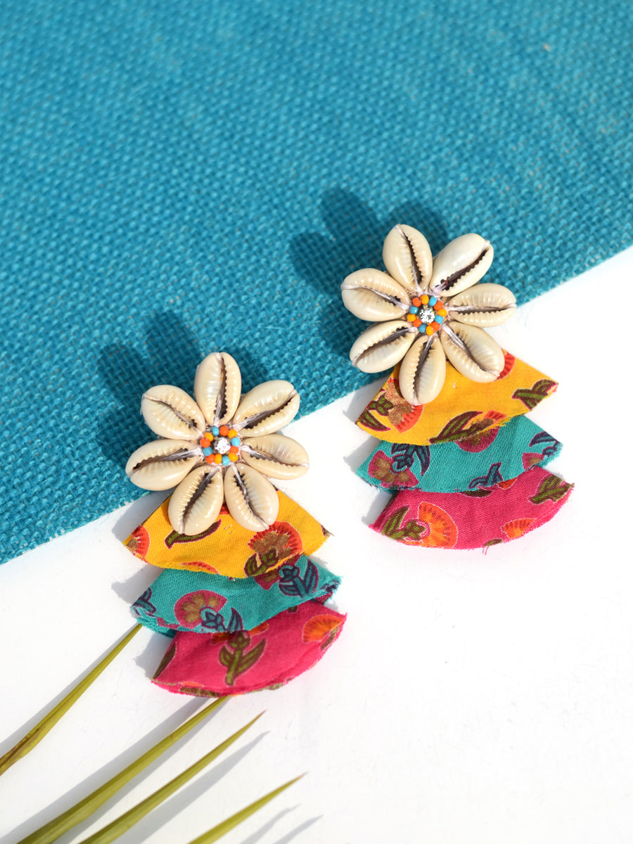 Rainbow Shell Earrings, a chic hand embroidered shell earrings with mirror detailing from our quirky designer collection of earrings for women online.