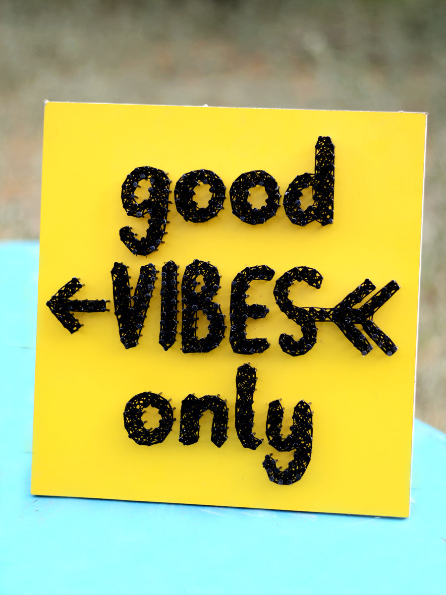 Good Vibes Only Thread Art, , a unique handcrafted thread art from our wide range of quirky, bohemian home decor products like cushion covers, wall decor & wall art, wooden coasters, keychain holders and more.