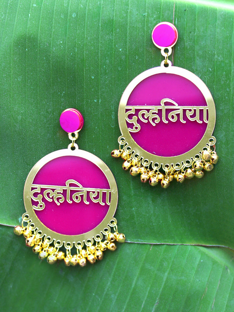 Dulhania Earrings, a quirky, unique, statement party-wear earrings from our wedding collection of earrings for women.