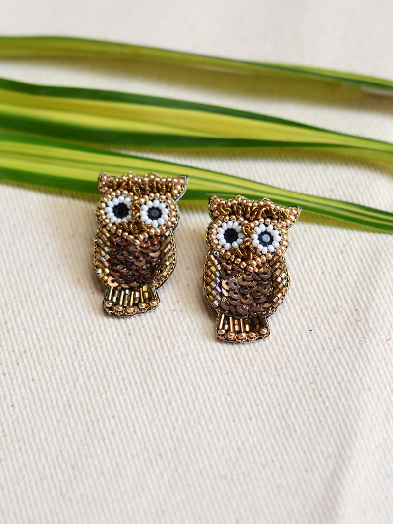 Owl Sequin Earrings, a beautifully hand-embroidered earring from our designer collection of quirky, boho, Kundan and tassel earrings for women online.