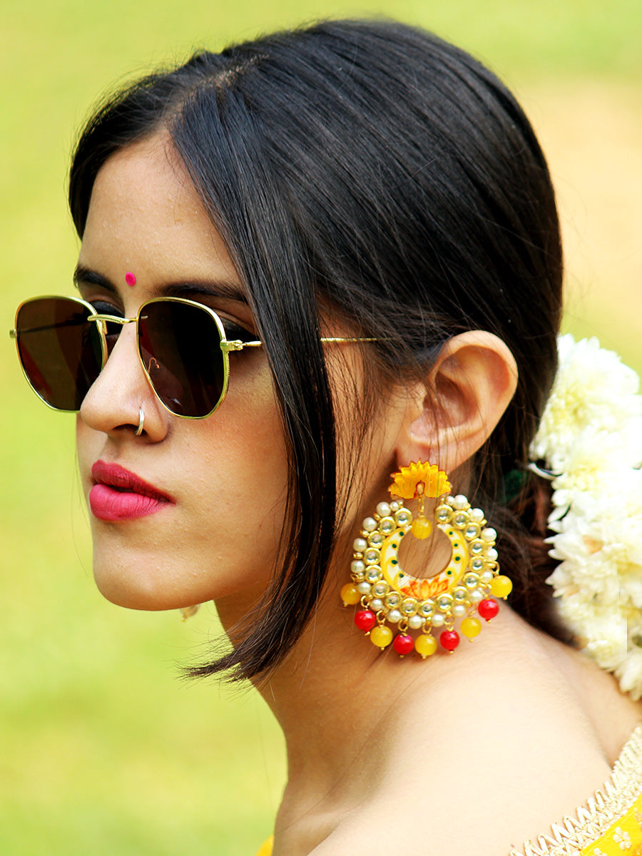 Zeenat Lotus Kundan Earrings