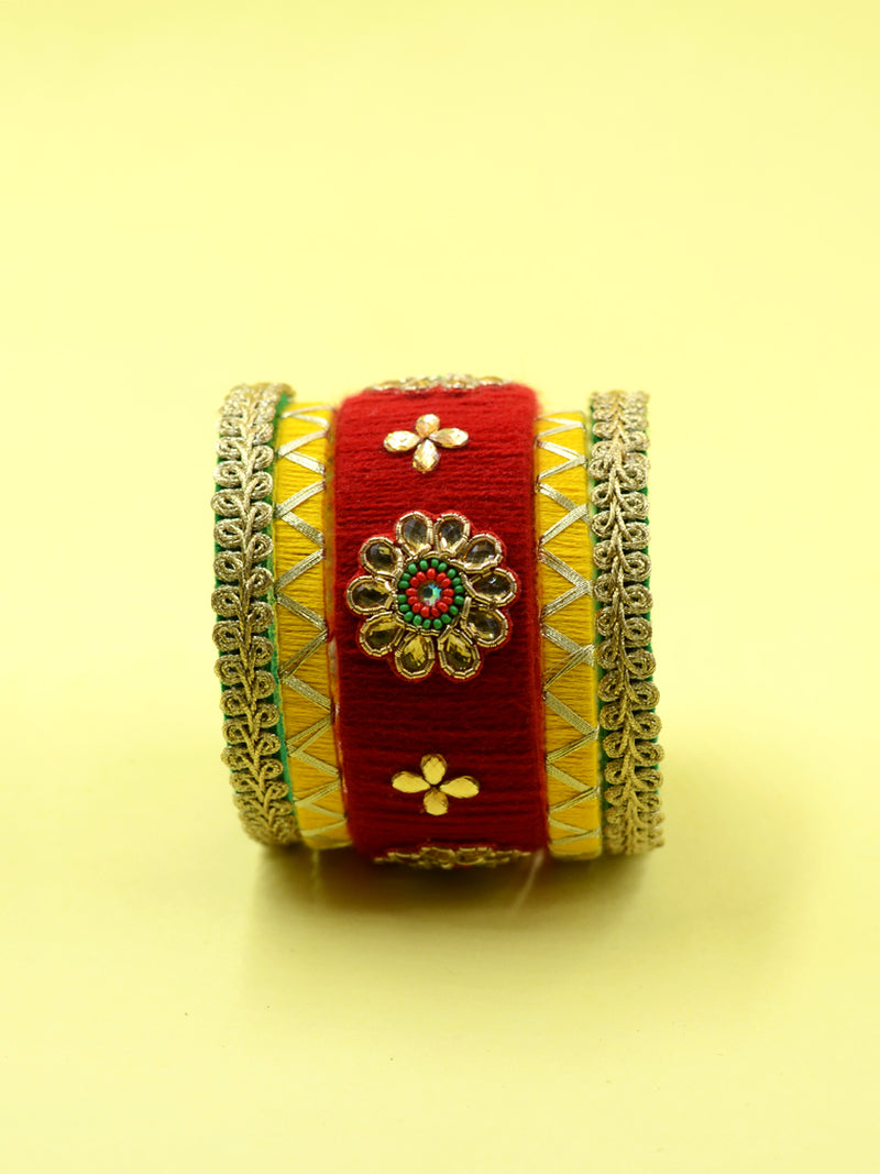 Din Shagna Kundan Bangles, a designer, handcrafted bangle from our latest collection of kundan hand embroidered bangles for women online.