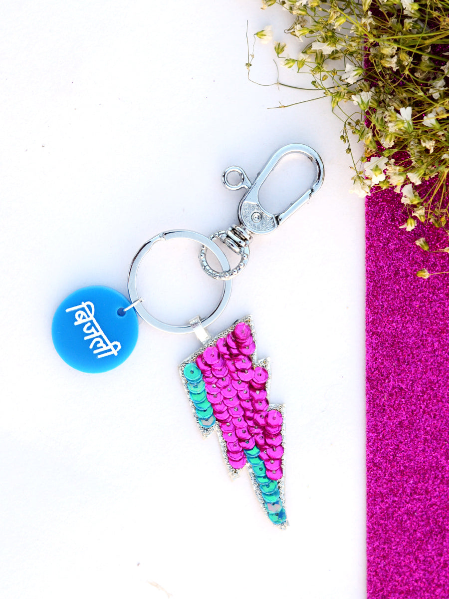 Bijli Keychain Bagcharm, a unique handcrafted keychain bag charm from our designer collection of hand embroidered statement keychain and bag charms online.
