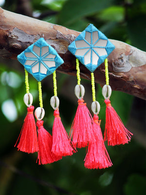 Bohemian Rhapsody Hand-embroidered Tassel Earrings, a beautiful handmade hand embroidered earring with tassel from our designer collection of earrings for women.