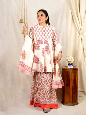 Afsana White & Pink Cotton Sharara Set with Dupatta (Set of 3)