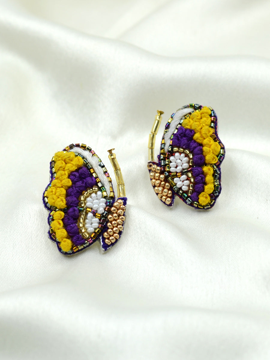 Butterfly Embroidered Earrings, a beautifully hand-embroidered earring from our designer collection of quirky, boho, Kundan and tassel earrings for women online.