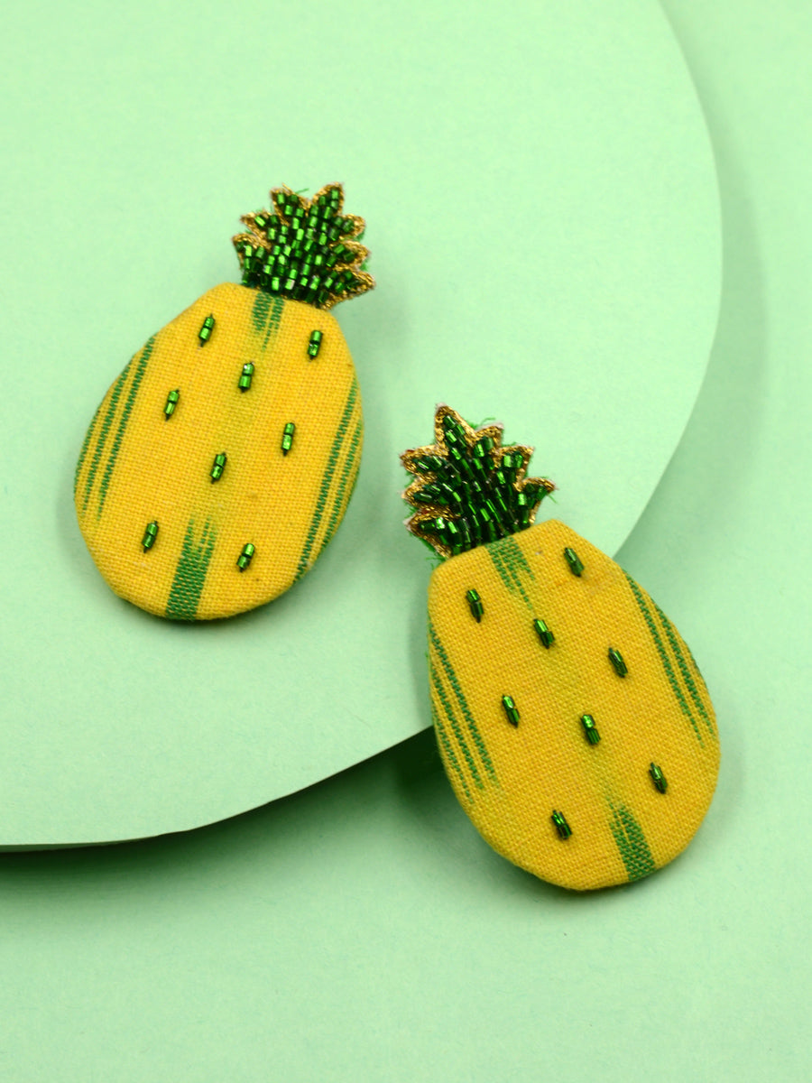 Ananas Ikat Earrings, a beautifully hand-embroidered earring from our designer collection of quirky, boho, Kundan and tassel earrings for women online.