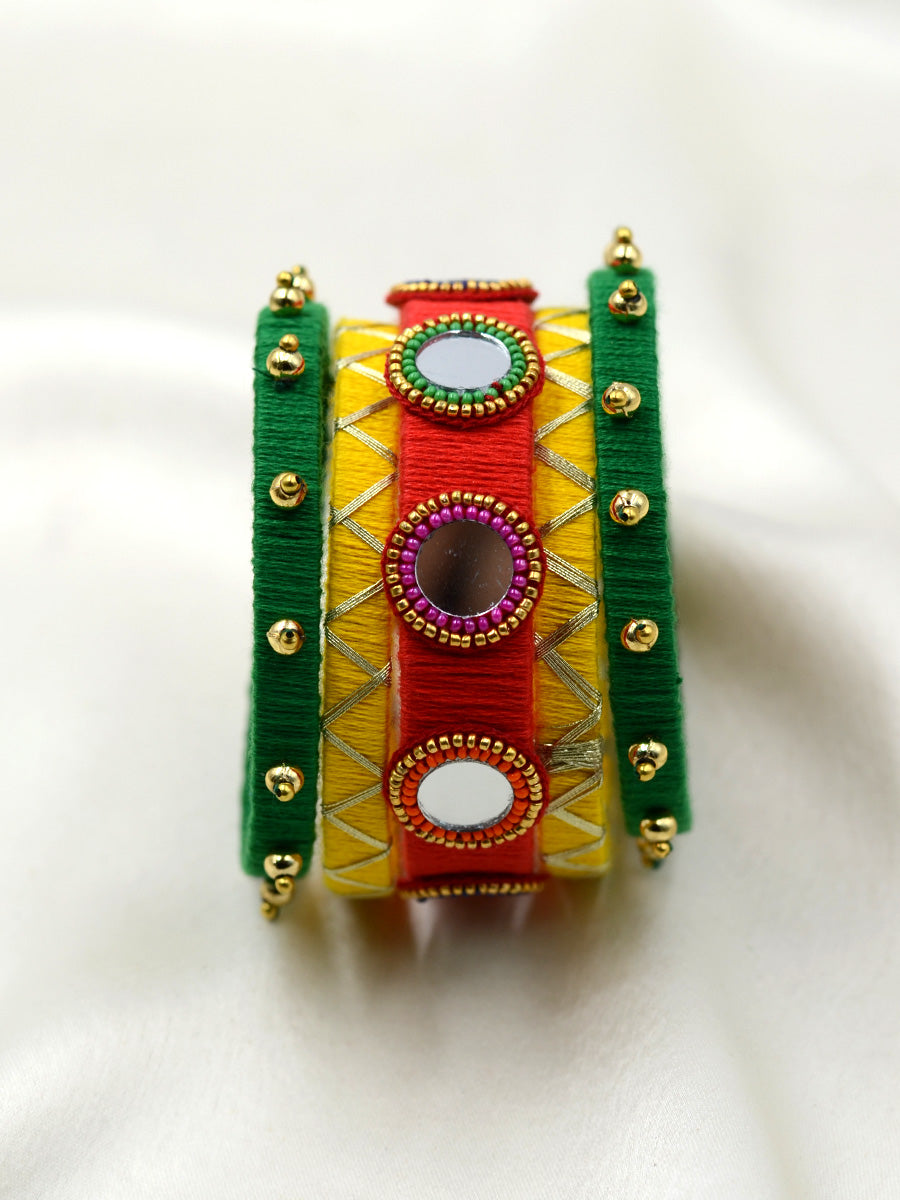 Festive Mirror Bangles, a designer handcrafted bangle from our latest hand embroidered collection of bangles online for women.