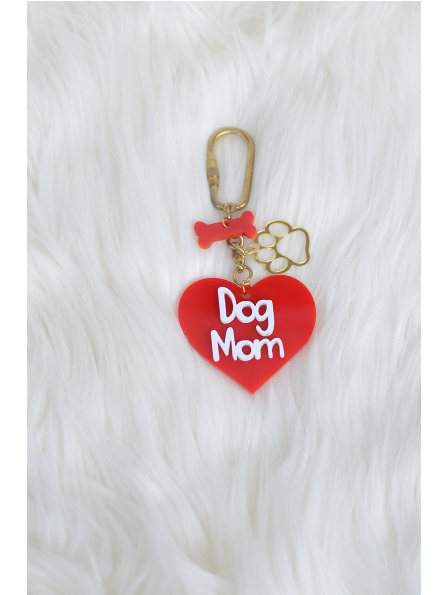 Dog Mom Keychain Bagcharm, a unique handcrafted keychain bag charm from our quirky, designer collection of hand embroidered keychain and bag charms.