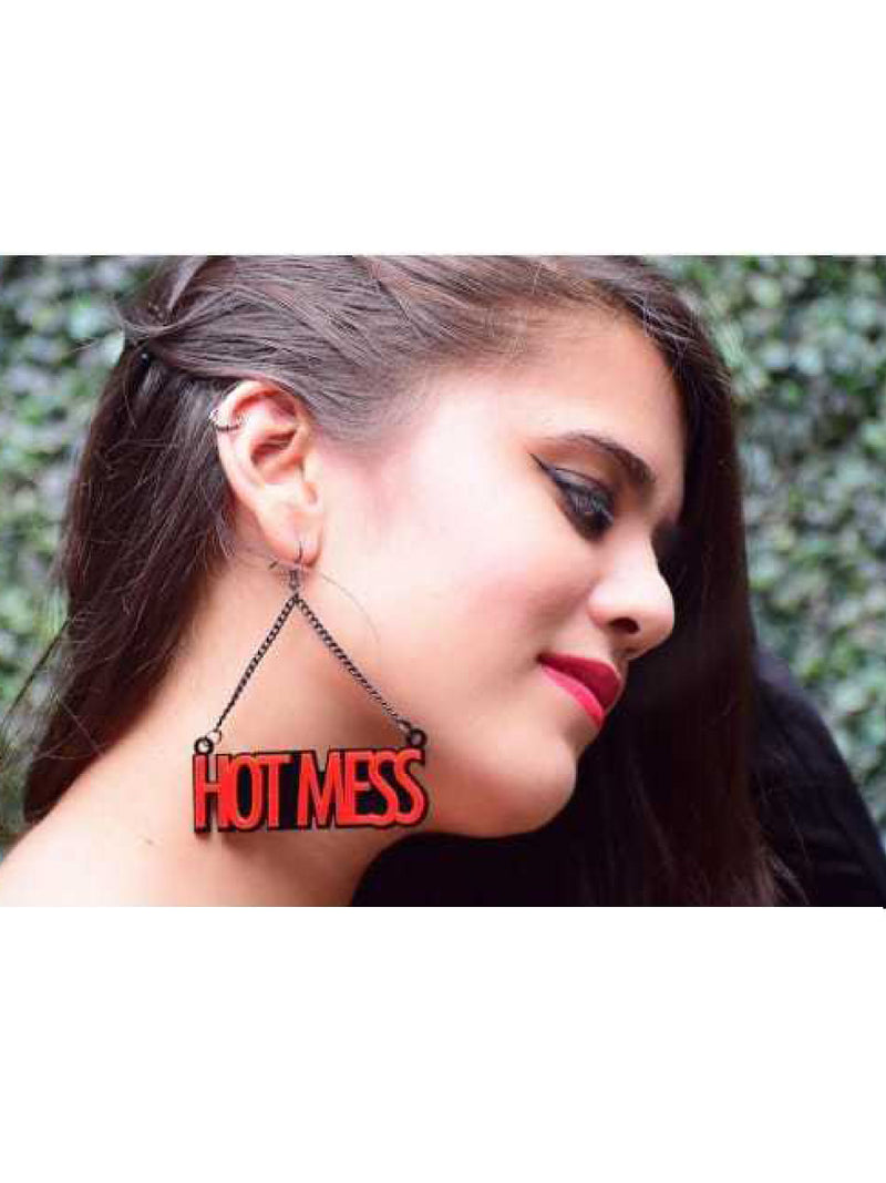 Hot Mess Earrings, a quirky, unique, statement party-wear earrings from our designer collection of earrings for women online.
