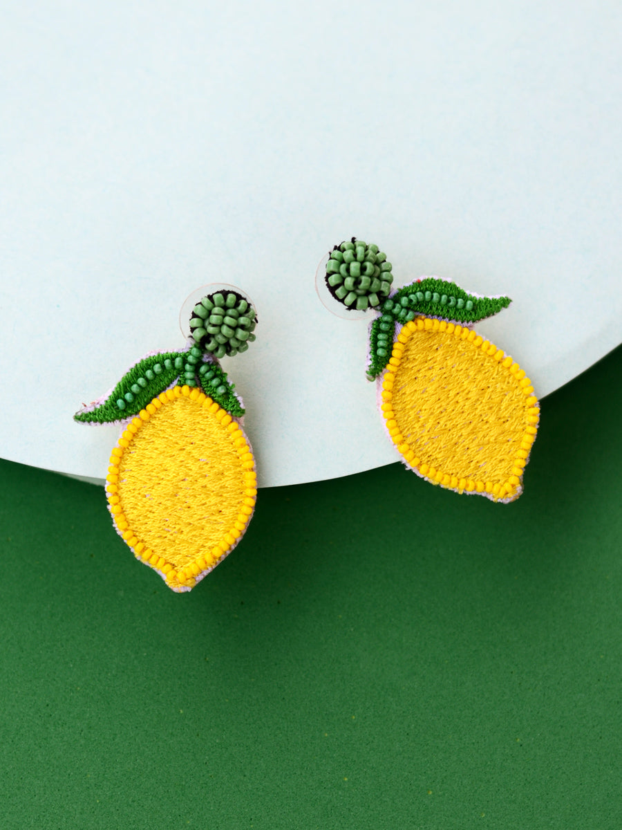 Margarita Earrings, a beautifully hand-embroidered earring from our designer collection of quirky, boho, Kundan and tassel earrings for women online.