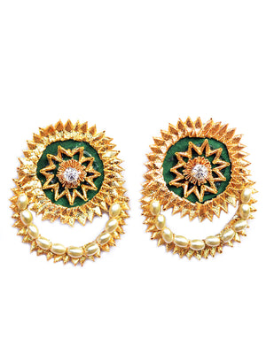 Gota Shine Earrings, a beautiful gota patti work earring with bead and stone detailing from our festive collection of gota earrings for women.