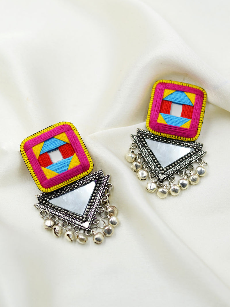 Kalakriti Mirror Earrings, a beautifully hand-embroidered earring with ghungroo detailing from our designer collection of quirky, boho, Kundan and tassel earrings for women online.
