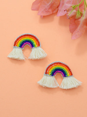 Rainbow Embroidered Bead Earrings, an embroidered earring with beads from our quirky designer collection of earrings for women online.