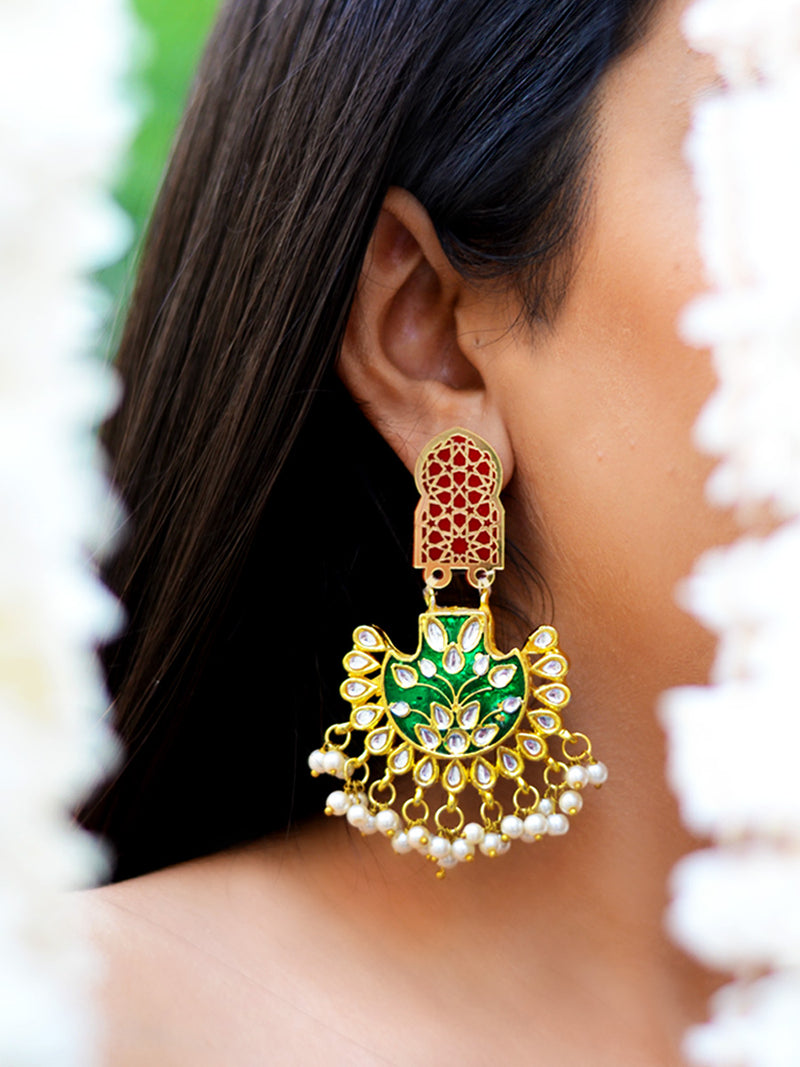Shabana Kundan Pearl Earrings, a contemporary handcrafted earring from our wedding collection of Kundan, gota patti, pearl earrings for women online.