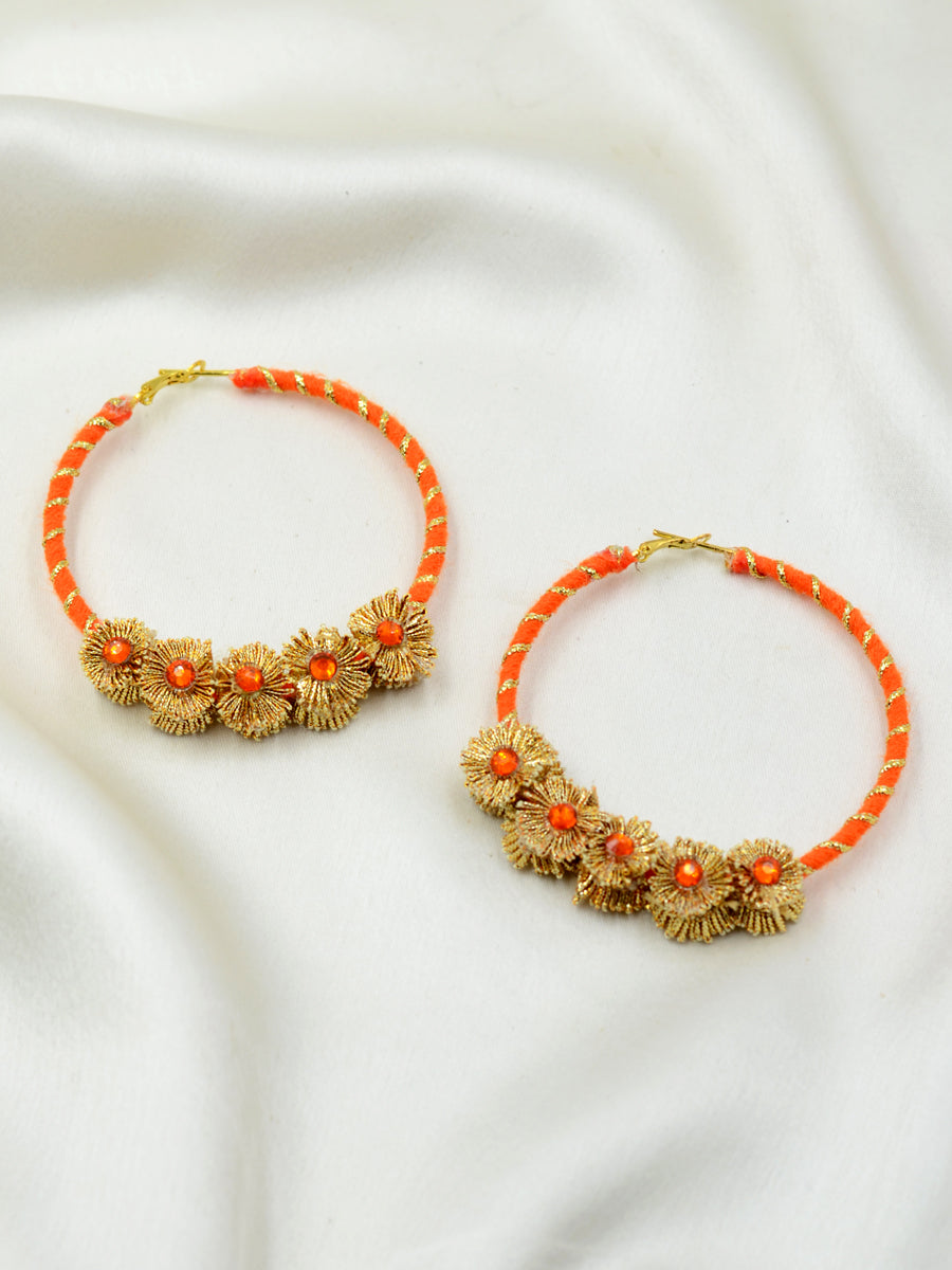 Gota Charm Hoop Earrings, a unique, ethnic Indian gota hoop earring with floral detailing from our designer collection of earrings for women online.