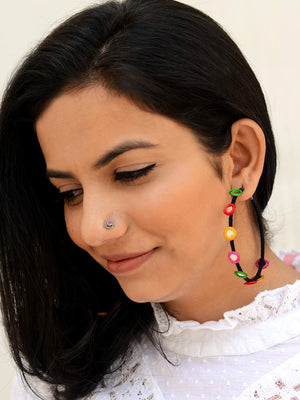 Rangeeli Baalis Hoop Earrings, a unique, ethnic Indian hoop earring from our designer hand embroidered collection of earrings for women online.