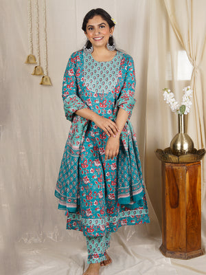 Swara Blue Handblock Kurta Set with Pants and Dupatta (Set of 3)