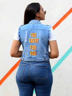 Too Sassy For You Sasswati Denim Jacket, a hand embroidered blue denim jacket from our designer collection of boho denim jackets for women.
