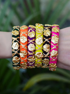Gota Phool Bangles, a multicoloured gota work, handmade, designer bangle bracelet with ghungroo detailing from our latest collection of hand embroidered bangles for women.