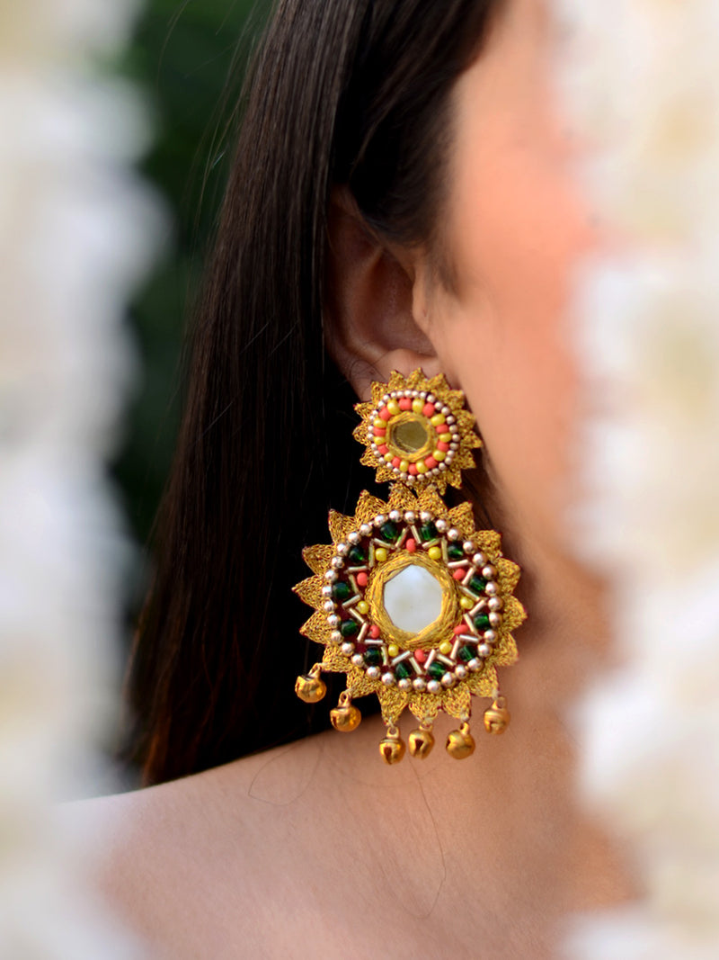 Kangana Hand-embroidered Gota Earrings, a contemporary handcrafted earring from our wedding collection of hand embroidered, Kundan, gota patti, pearl earrings for women online.
